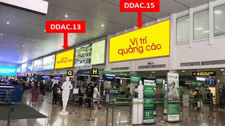 Hộp Đèn Tại (DDAC.13 & DDAC.15) Sảnh Thủ Tục Check-in Ga Đi (Trên Đảo E) – Sân Bay Tân Sơn Nhất – Quận Tân Bình – Tp. Hồ Chí Minh