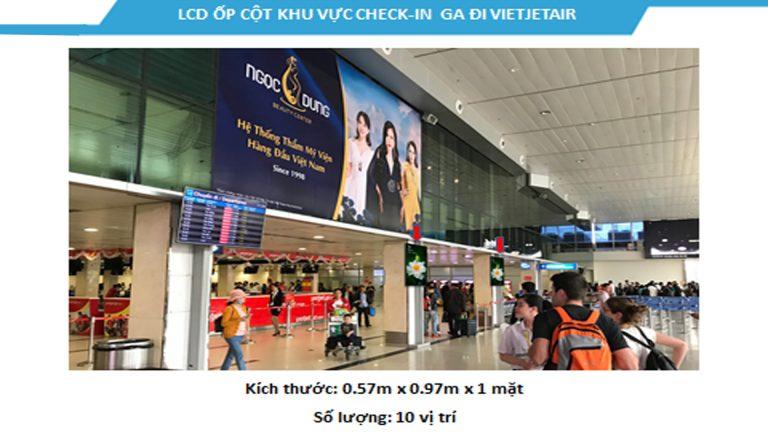 Led Indoor Tại 43″ Check-In VIETJET AIR – Sân Bay Tân Sơn Nhất – Quận Tân Bình – Tp. Hồ Chí Minh (10 Vị Trí)