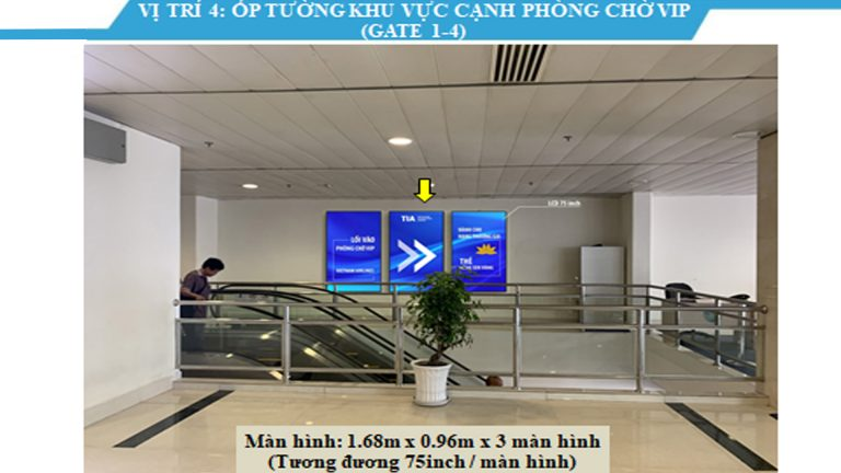 Led Indoor Tại Ốp Tường Khu Vực Cạnh Phòng Chờ Vip (Gate 1-4) 75 Inch – Sân Bay Tân Sơn Nhất – Quận Tân Bình – Tp. Hồ Chí Minh (3 Vị Trí)