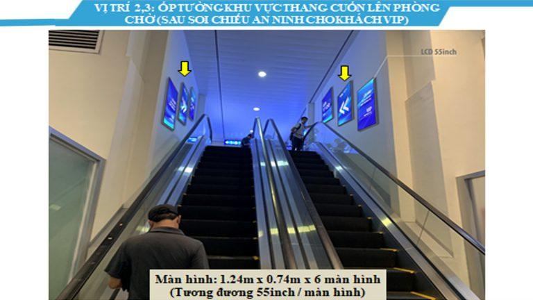 Led Indoor Tại Ốp Tường Khu Vực Thang Cuốn Lên Phòng Chờ (Sau Soi Chiếu An Ninh Cho Khách Vip) 55 Inch – Sân Bay Tân Sơn Nhất – Quận Tân Bình – Tp. Hồ Chí Minh (6 Vị Trí)