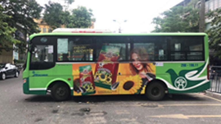 Quảng Cáo Tràn Kính Xe Bus Tại Long An